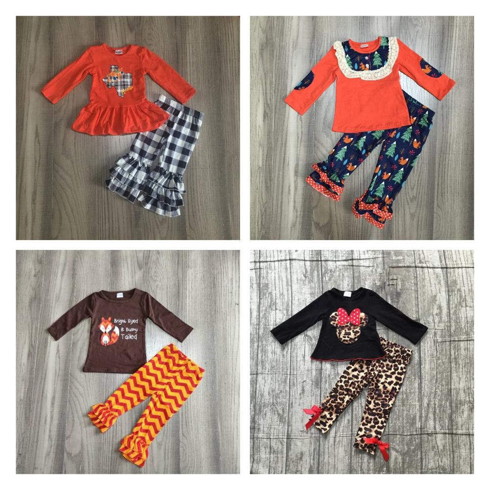 Special Offer Girlymax Fall/Winter Baby Girls Clothes Children Cotton Boutique Outfits Plaid Fox Leopard Mouse Patch Ruffles 1