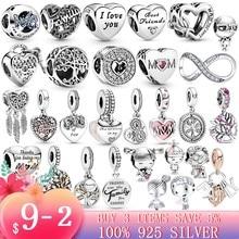 2020 Star Wars 925 Sterling Silver Family tree little girl boy Heart Charm Beads Fit Original Pandora Bracelet Jewelry Mom Gift