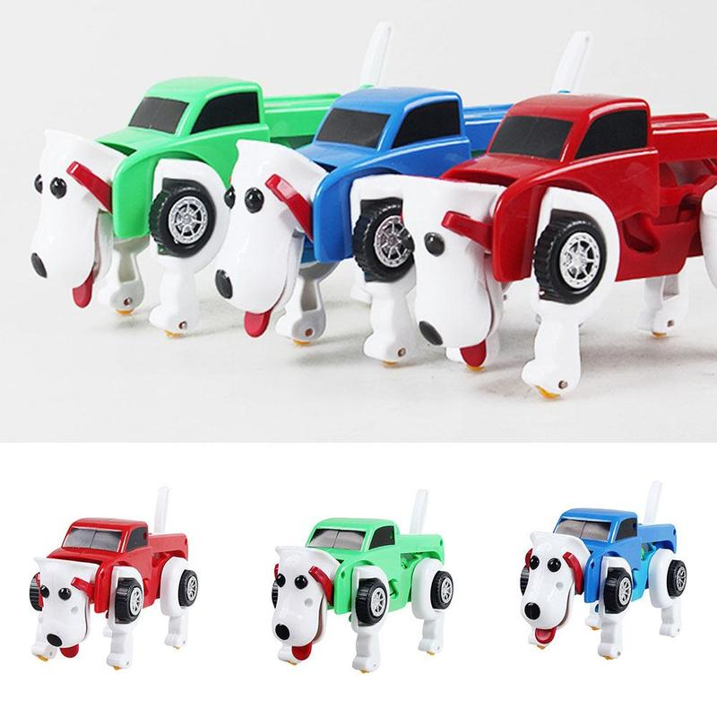 <font><b>4</b></font> colors 14cm No need Batteries Automatic <font><b>Transformation</b></font> Dog Car Vehicle Clockwork Wind up for kids Deformation <font><b>toys</b></font> image