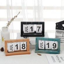 Creative DIY Flip Wooden Vintage Home Calendar Turning Desk Calendar Desktop Office Decoration Nordic Study Decoration Gift цена 2017