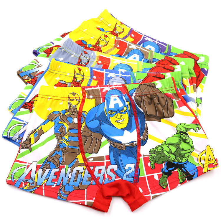 1 Pcs/lot Children's Underwear Boxer Boy Child Underpants Cartoon Cotton Avenger Alliance Baby Boy Underpant Superman Panties