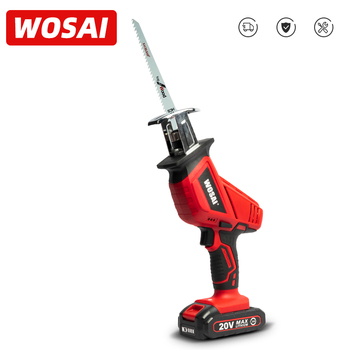 WOSAI 20V Cordless Reciprocating Saw Adjustable Speed Electric Saw Saber Saw Portable Electric Saw for Wood Metal Cutting portable rechargeable reciprocating saw wood cutting saw 20v 3000mah electric wood metal plastic saw