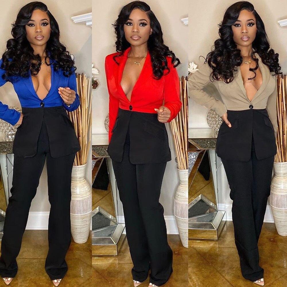 Color Block Blazer 2 Piece Set Women Work Wear Office Business Single Button Blazer And Wide Leg Pant Suits Elegant Club Outfits