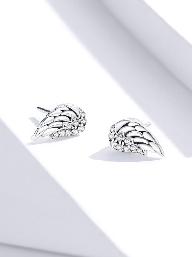 Bamoer Stud-Earrings Wings Fine-Jewelry 925-Sterling-Silver Vintage Women 100%Real Dazzling