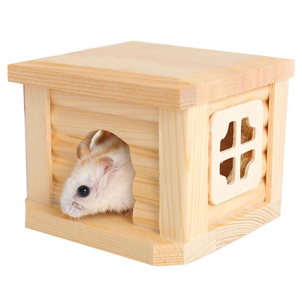 1pc Natural Wooden Cabin Hamster House Flat Roof Pet Playing Toy Cage Ornament