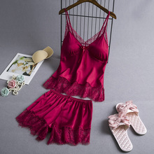 Women's Sleepwear Pyjamas Satin-Set Silk Lingerie Cami Lace V-Neck Sexy Cute Babydoll