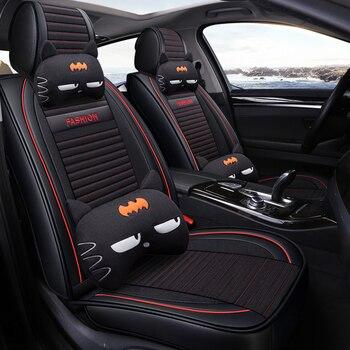 Full Coverage PU Leather car seat cover flax fiber auto seats covers For Honda civic accord crv grosstour honda pilot