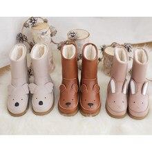 Cartoon Tiere Kinder schnee stiefel Aus Echtem Leder kaninchen kinder schuhe winter Warme Plüsch Mädchen Niedlichen turnschuhe Junge casual stiefel