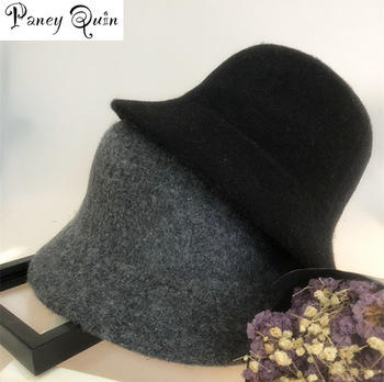 drop shipping Women wool Winter Hat for women Solid Color Personality floppy bucket Woolen Hat Cap Female wool bucket hat stylish mixed color knitted bucket hat for women