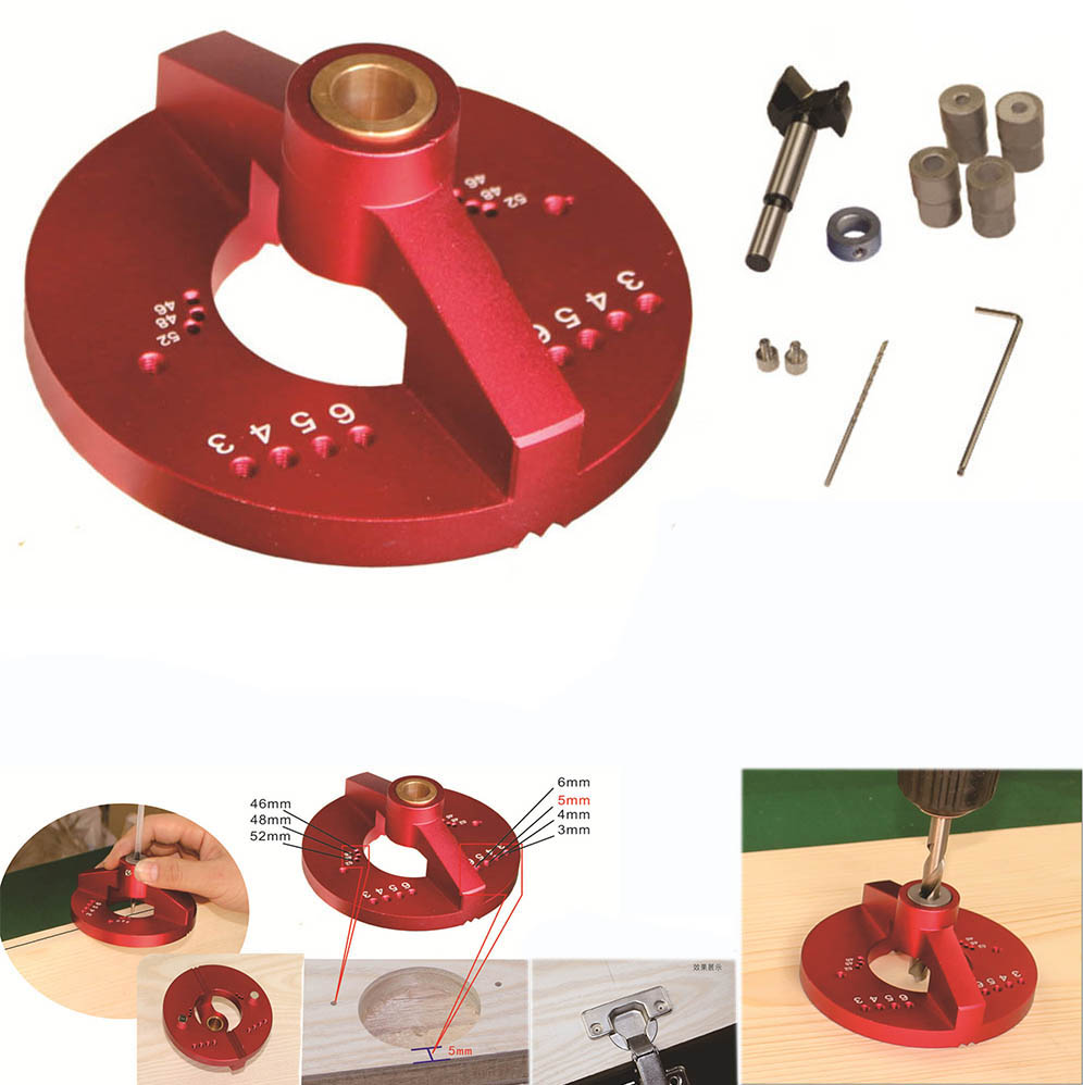 Woodworking Tools 35mm Cup Style Hinge Jig, Center Scribe, 90 Degree Drill Guide 5/6/8/10 Drill Bit Hole Puncher Locator Jig