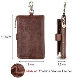 Image 4 - Contacts Vintage Key Wallets Genuine Leather Wallet Men Car Key Holder Housekeeper Hasp Design Coin Purse Zipper Keys Organizer