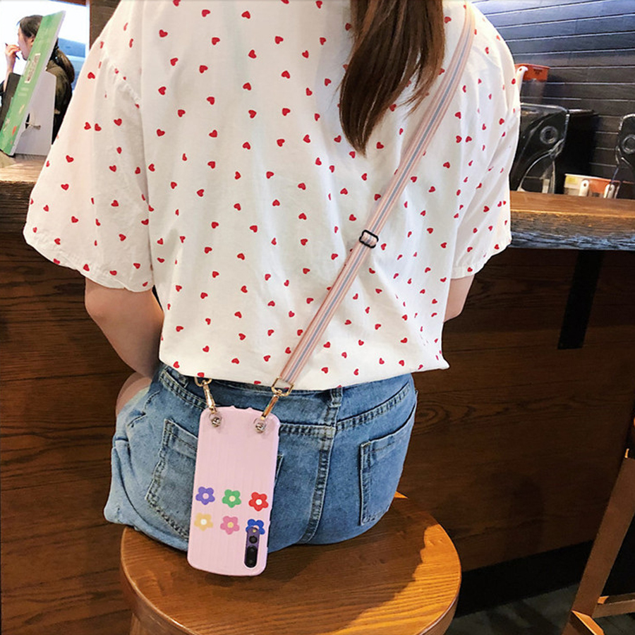 ins flower strap tpu case for iphone 7 8 XR X XS MAX 6 6s plus case cover fashion floral soft silicon phone bag capa fundas in Fitted Cases from Cellphones Telecommunications