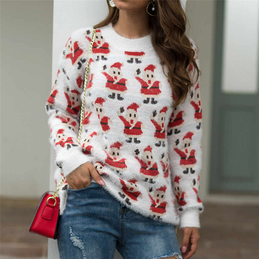Christmas snowman Sweater Women knitted Pullover Ladies Long Sleeve O-Neck Pullover autumn Winter Tops Clothing