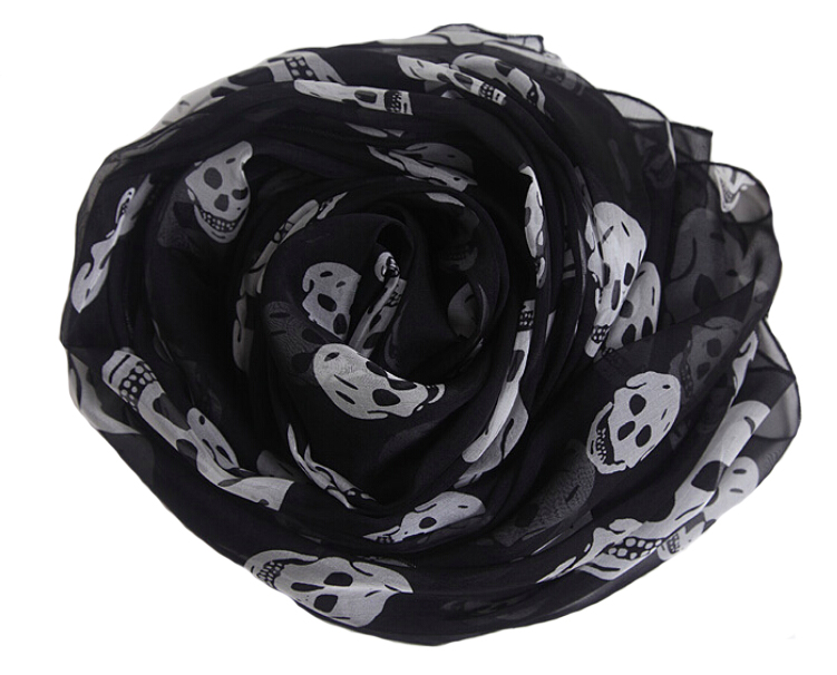 Summer Beach Long Shawl Women Fahion Skull Print Chiffon Silk Scarf Mulim Hijab For Man Women Soft Thin Poncho 165*70CM Foulard