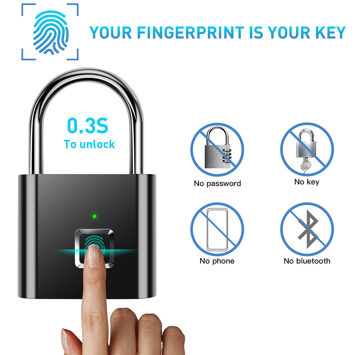 Smart Bluetooth Rechargeable Door Lock Fingerprint Lock Anti-Theft Keyless Security Padlock W/USB-Cable