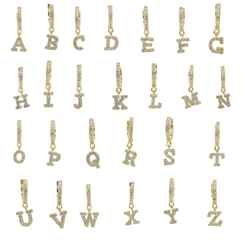 1 Pcs 925 Sterling Silver Cz 26 Letters Hoop Earring Zircon Cartilage Earrings Puncture Helix Piercing Fine Jewelry A30