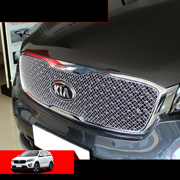 lsrtw2017 stainless steel car front grill net trims for kia sorento prime 2015 2016 2017  um decoration accessory