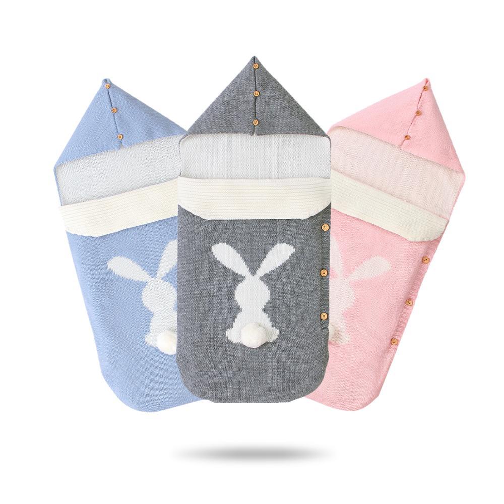 Baby Sleeping Bag Envelopes Winter Warm Knitted Newborn Swaddle Wrap Autumn Infantil Kids Sleep Sack Footmuff For Stroller 0-6M