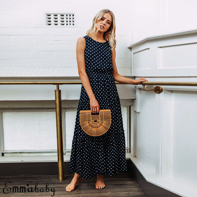 Hf207e084006746099fecdbe94ef36ffbi 2019 Bobo Women Dark Blue Boho Loose Sleeveless Holiday Dot Print Long Maxi Dress Evening Party Beach Dresses Summer Sundress