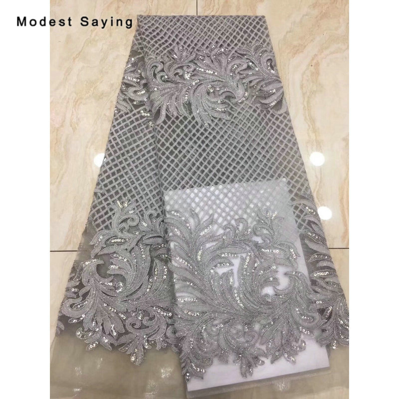 2 Yards Grey Square African Sequined Lace Fabrics For Evening Dress 2019 Embroidered Mesh Nigerian Party Prom Net Lace Material