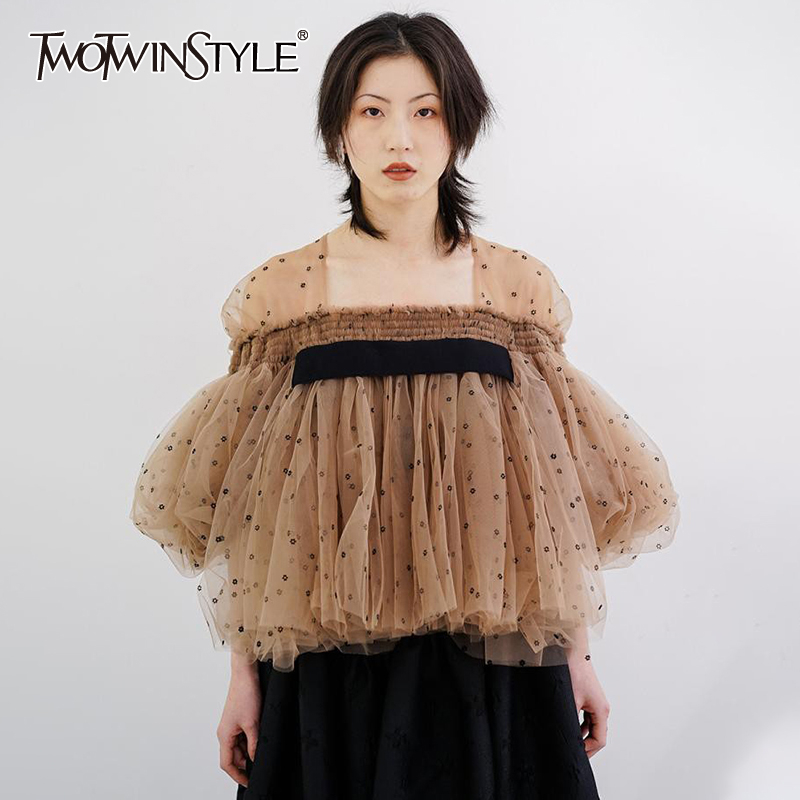 TWOTWINSTYLE Elegant Dot Mesh Women Shirt Square Collae Puff Three Quarter Sleeve Loose Ruffle Patchwork Hit Color Blouse Female