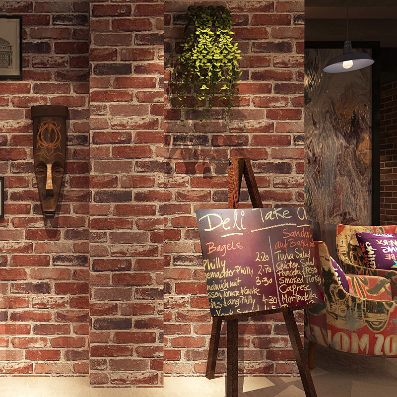 Retro Nostalgic American-Style Faux Brick Pattern Bricks Brick Wallpaper Cafe Bar Restaurant Art Stone Red Brick Wallpaper