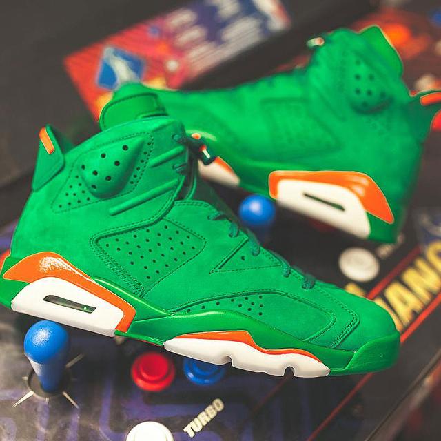 Nike Air Jordan 6 Gatorade AJ6 Green Suede Men's Basketball Shoes Outdoor Sneakers Wear Resistant Cozy Footwear 2018 New AJ5986