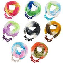 Womens Ethnic Retro Autumn Gradient Contrast Color Chiffon Infinity Scarf Neckerchief Square Resin Jewelry Pendant Necklace Bib