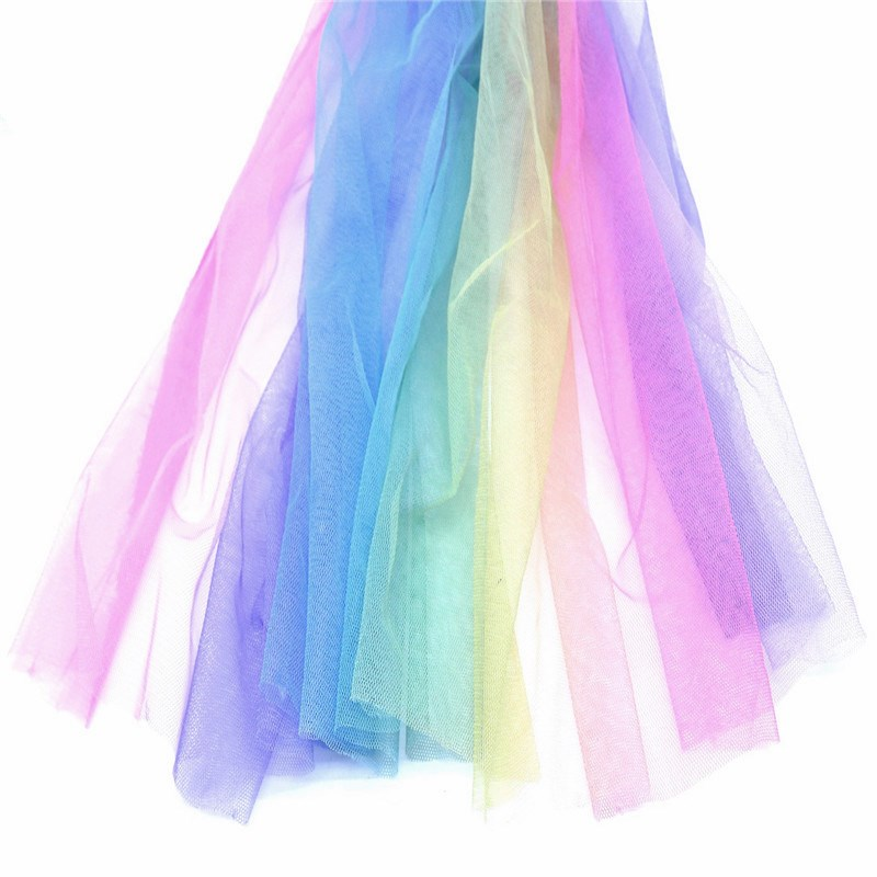 1.5*1 m Rainbow Gradient Tulle sequin Fabric DIY Sewing Baby Shower Tutu Skirt Princess Dress Wedding Party Decor African Fabric image