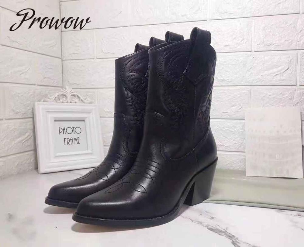 Prowow  Genuine Leather Slip On Brand Autumn Winter Boots Sexy Pointed Toe Thick Heel Floral Embroidery Cowboy Women Boots