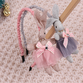 ncmama Cartoon Lace Dress Rabbit Headband for Girls Hair Accessories Bezel Korean Fashion Kids Bow Knot Hairband Hoop