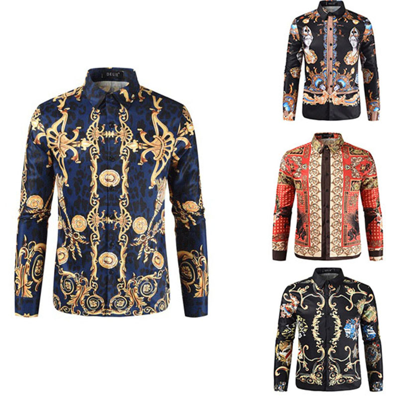 Men's 3D Harajuku Printed Shirts Mercerized Cotton Luxury Men's Shirt Turn Collar Vintage Chemise Casual Plus Size Floral Blouse