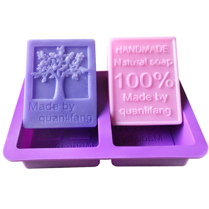 Tree Shaped Hand Making Tools Multifunction Cake Mold 2 Hole Square Soap Mold Chocolate Cake Mould Handcraft Accessories
