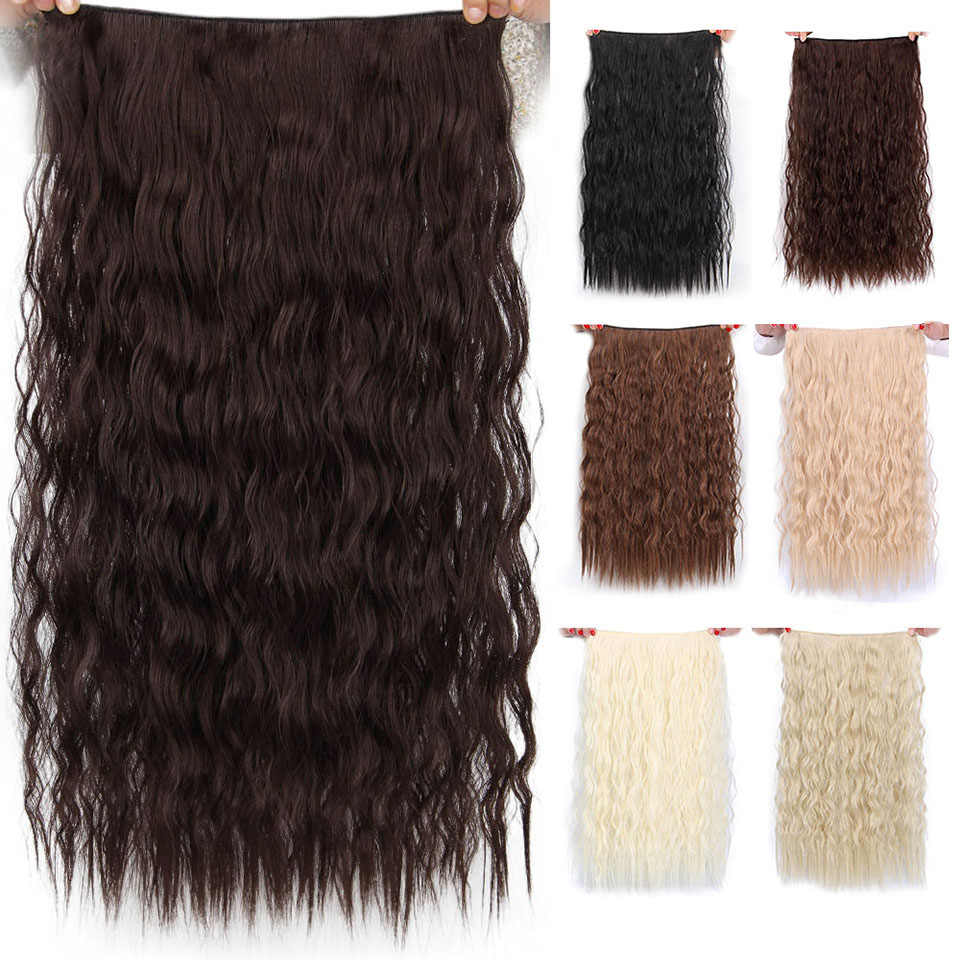 "AISI ความงามยาวคลิปใน Hair Extension ธรรมชาติสังเคราะห์ผม Water Wave สีบลอนด์สีดำสีน้ำตาลสีแดง 22 ""28'' สำหรับ Hairpieces ผู้หญิง"