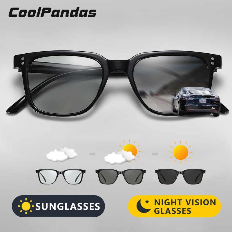 Coolpandas Square Polarized Kaca Mata Pria Wanita Merek Desain Photochromic Mengemudi Kacamata Anti Silau UV400 Kacamata Gafas De Sol