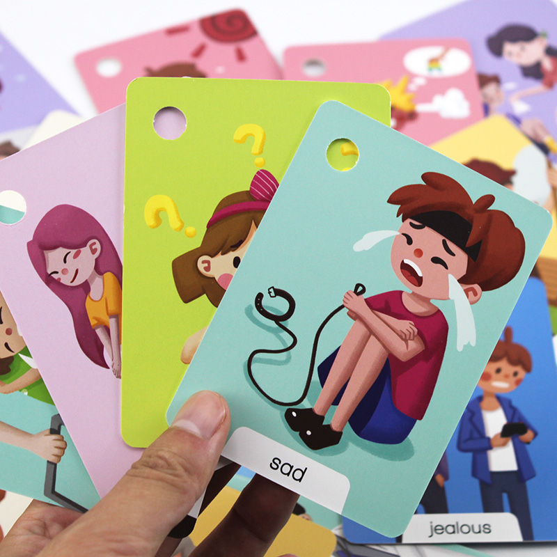 23Pcs Montessori Baby English Emotion Learning Cards Cartoon Flash Cards For Children Early Educational Toy Memory Game For Kids 2