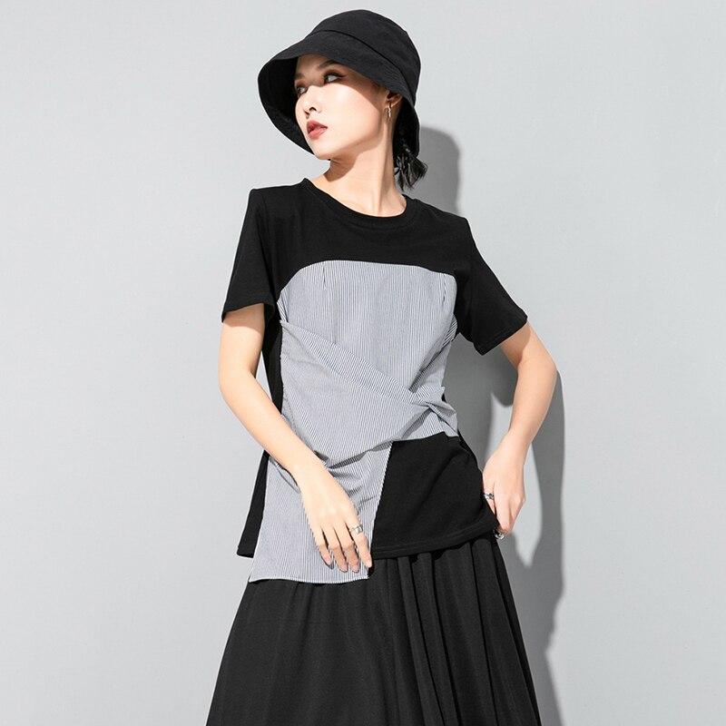 [EAM] Women Black Striped Knot Split Joint Irregular T-shirt New Round Neck Short Sleeve Fashion Tide Spring Summer 2020 1U627 5