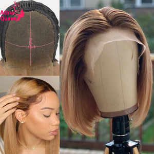 Ombre Human Hair Short Bob Wig Brown Honey Blonde Colored 13x6 Lace Front Wigs Remy 4x4 Lace Closure Wig Preplucked 150 Density(China)