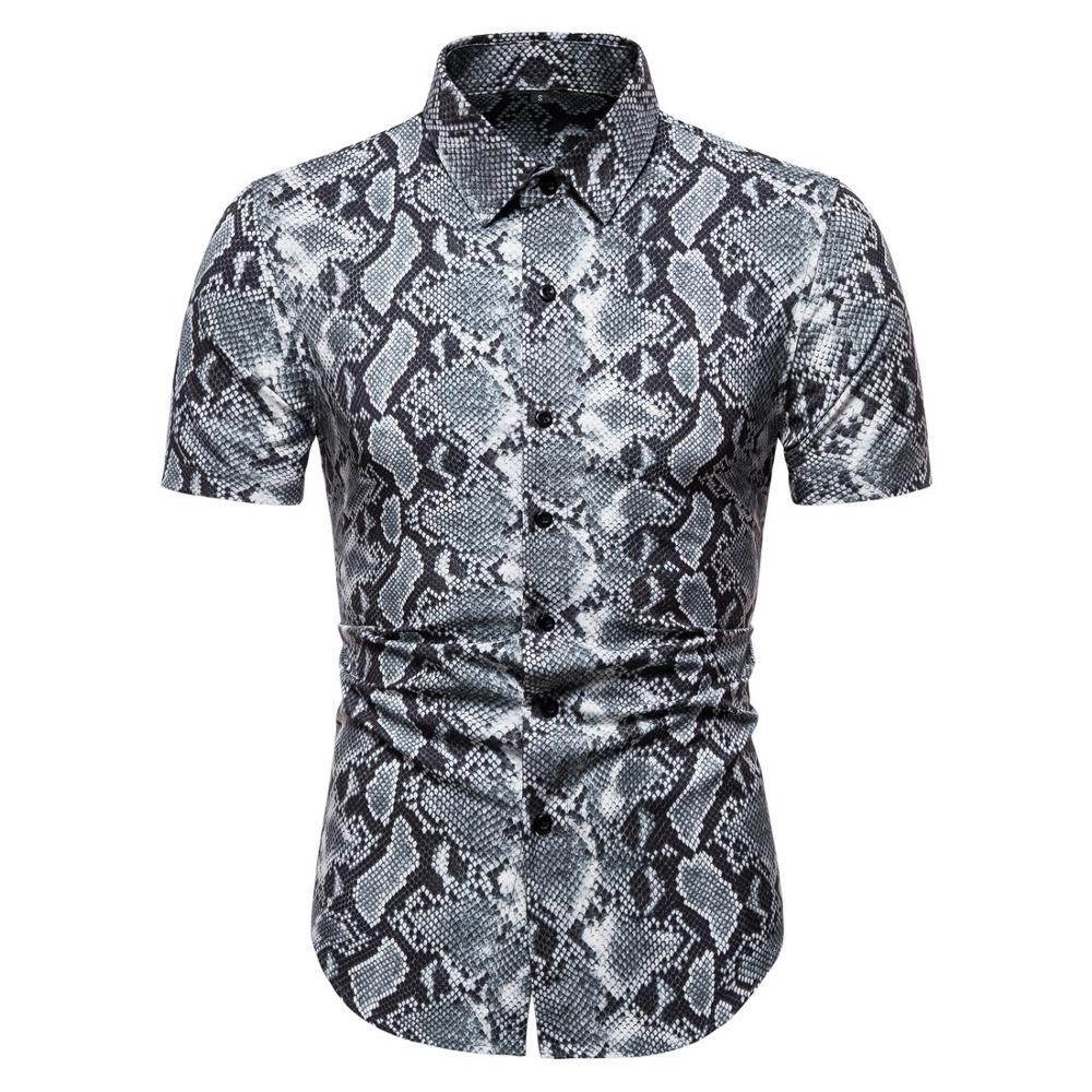 cotton leopard  shirt large size cotton short-sleeved casual young men's shirt 2