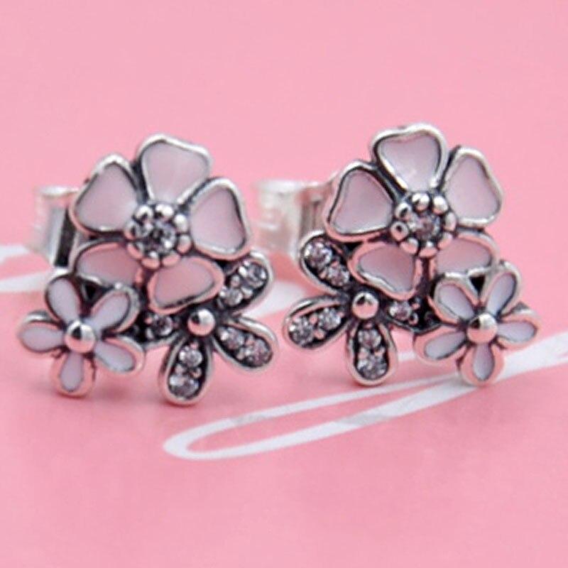 Original Mix Enamel Poetic Blooms With Crystal Stud Earrings For Women 925 Sterling Silver Earring Wedding Gift Jewelry
