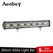 Aeoby conduziu a luz 20in do trabalho 420w três-linha conduziu a barra clara offroad da luz de condução do diodo emissor de luz para suv 4x4 fora da estrada conduziu a barra clara do trabalho