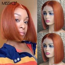 MISSYOO Straight Short Human Hair Brazilian Hair Wigs 150 Density Orange Bob Wigs 13x1 T Part Lace Wig For Black Women 18inches