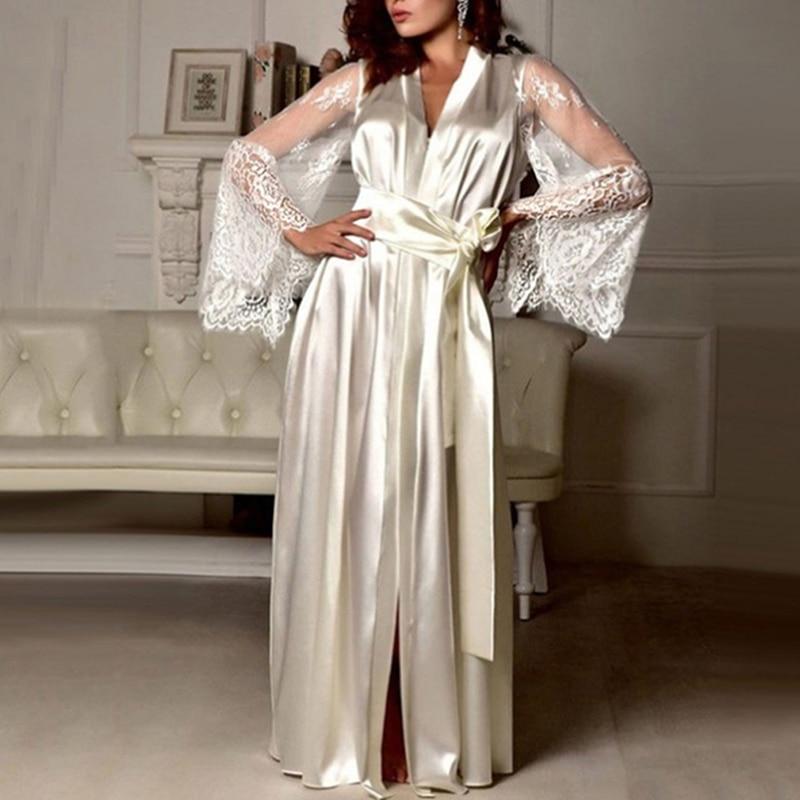 Women Long Sleeve Silk Sleepwear Nightgown Set Sexy Perspective Mesh Sleeve Splice Robe Nightdress Sleepwear Autumn Clothing