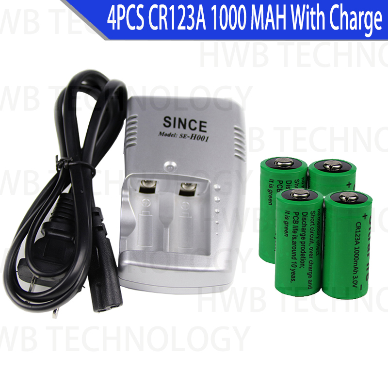 4 x CR123A 3.0v 1000mAh CR123 16340 <font><b>17335</b></font> Rechargeable Battery + CR123A CHARGER image