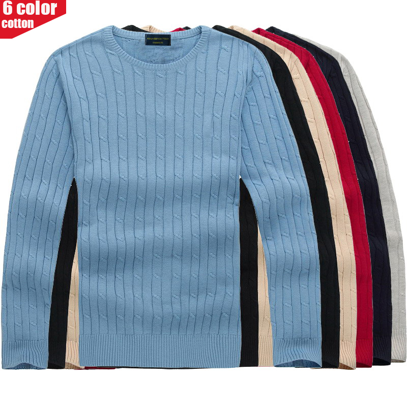 2019 Autumn Winter Men's Pure Cotton Sweaters Long Sleeve Pullover Tops O Neck Knitted Jumper Style Knitwears Clothes Plus 8519