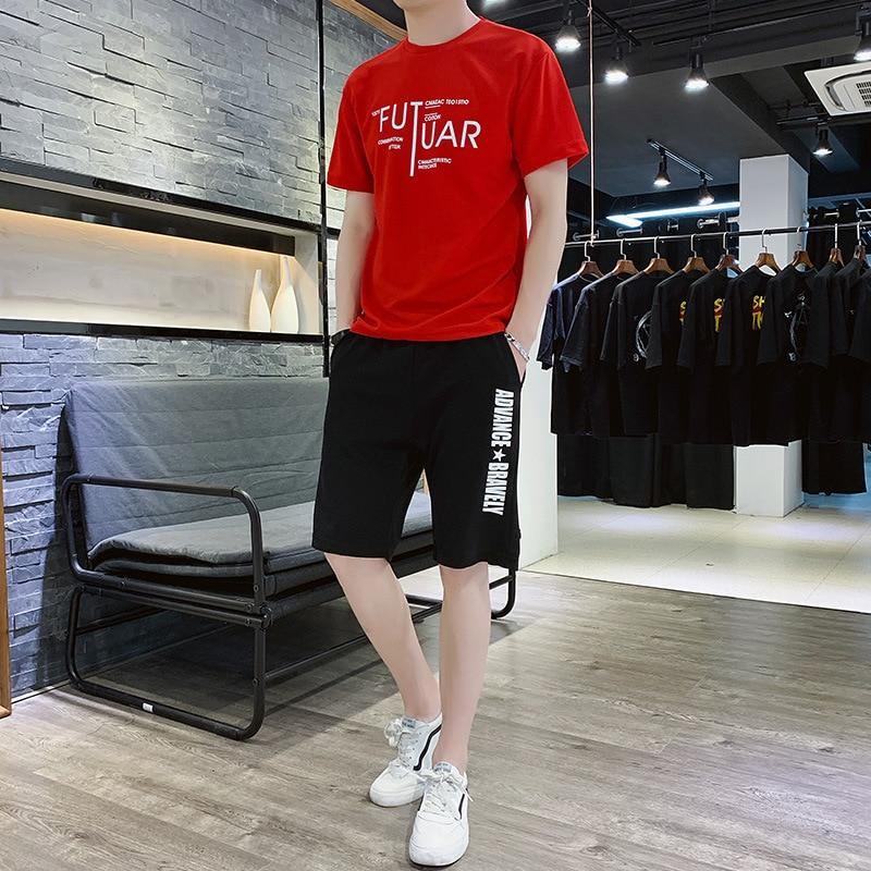 Men's 2020 New Summer Round Neck Sports Korean Short-sleeved T-shirt Shorts Running 2-piece Suit Letter Print