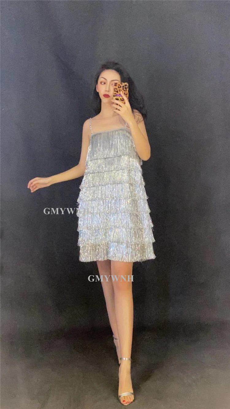 R64 Sexy female sleeveless silver tassels evening dress party dance costumes singer perform shinning skirt disco outfits club dj