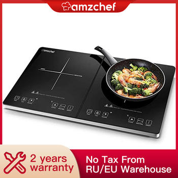 AMZCHEF 3500W Double Induction cooker fire boiler Waterproof Black Crystal Plate Stove High-power Cooktop Burner induction cooker 15kw high power canteen concave cooker cooktop fry restaurant commercial electric frying stove cooking utensils