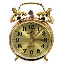 Mechanical Gold Alarm Clock Manual Wind Up Vintage Metal Clock Cute Home Decor Table Clock Display Cute Version Home Decoration