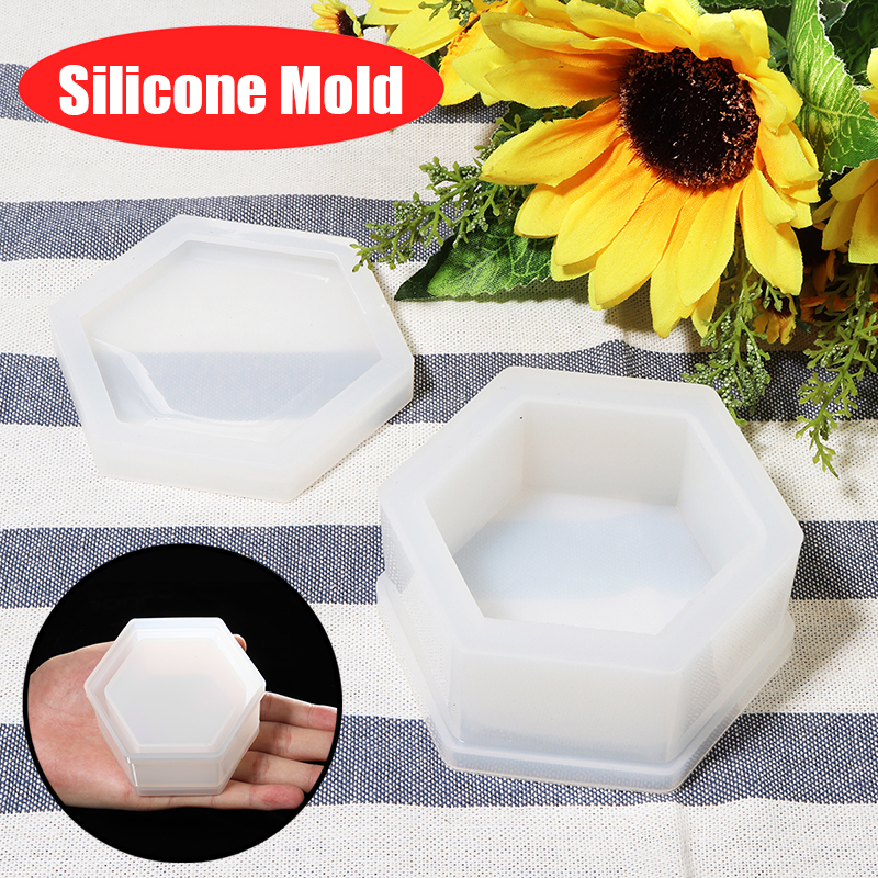 New Silicone Hexagon Jewellery Storage Box Mold Resin Casting Mould DIY Craft Jewelry Making Tool Mould Decorative Craft